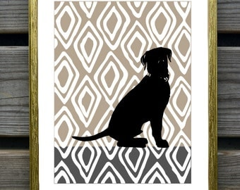 Labrador Retriever Art Print on hand drawn ikat Background, Modern Wall Decor, Black Labrador Retriever Gift