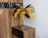 50pcs Gold  & 50pcs Black  Ostrich Feather Plume for Wedding centerpieces,