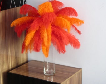 100pcs Red & Orange Ostrich Feather Plume for Wedding centerpieces,