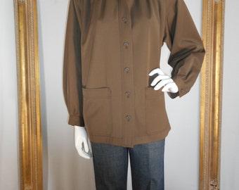 Vintage 1980's Saint Laurent Rive Gauche Brown Oversized Jacket - Size 10