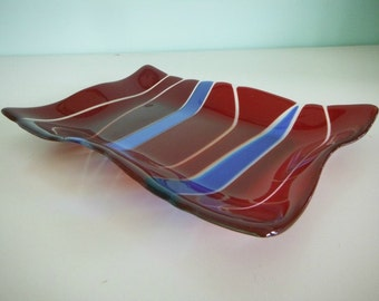 Red and Blue Fused Glass Wave Platter