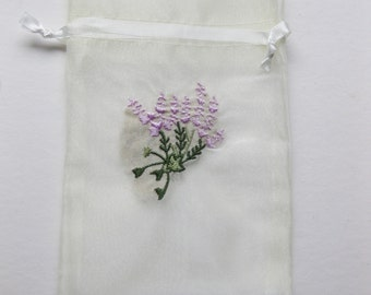Set of 10 Ivory Organza Bags with Embroidered Lavender (4x6)