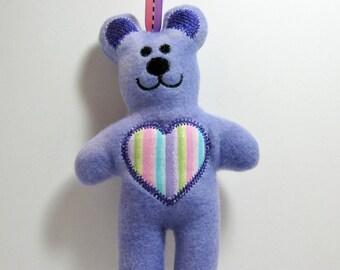 Purple Tye Dyed Teddy Bear Rattle Tag Toy