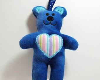 Blue Teddy Bear Tag Toy Rattle