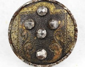 Antique Metal Button Tinted Engraved Brass Cut Steels 9/16 inch 14mm Sewing Button