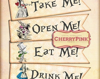 Alice in Wonderland cake decoration, cupcake printable Alice banner design Alice digital collage sheet