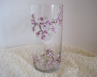 Mulberry colored Cherry Blossom Vase and Pillar Holder
