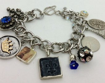 Charm Bracelet-French Theme made with new, vintage and made charnd