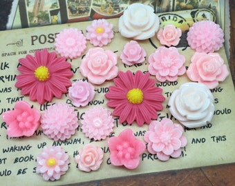 20pcs - Resin Flower Cabochons - Pink