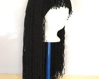 Handmade Crochet yarn Hat Hair wig,women, baby, kids,Black hair, wig, yarn hair, yarn wig, hat wig Halloween wig costume
