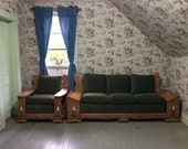 1940s Rancho California Monterey Style Sofa Couch and Chair Set Lodge Furniture