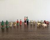 1880s German Erzgebirge Putz Carved Wood Farmers and Animal Noah's Ark Figurine Set