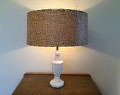 Large Vintage Paper Lamp Shade Tan and Black
