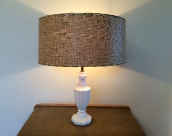Large Vintage Paper Lamp Shade Tan and Black