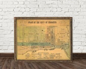 Toronto map - Restored map of Toronto  - Antique map  archival print