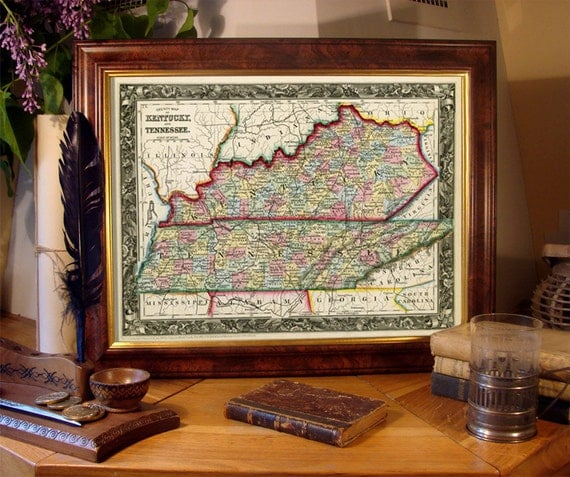 Vintage state map of  Kentucky - Tennessee  map - Old map reproduction