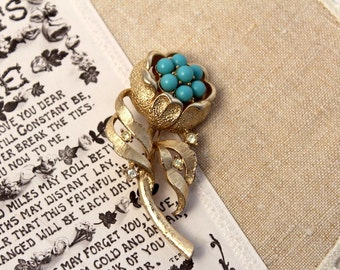 Vintage, Gold Floral Brooch with turquoise beads by Sarah Coventry