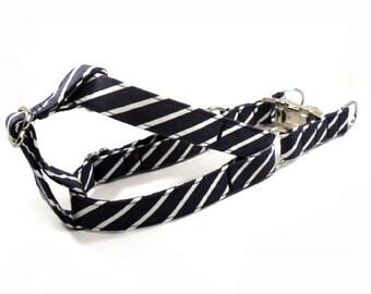 Dog Harness, PINSTRIPE in NAVY, Handmade Dog Harness, Dog Step in Harness, Step in Dog Harness