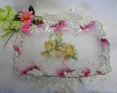 Vintage RS Prussia serving dish with roses gold trim and pierced handles Red Mark on back