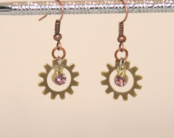 Steampunk Antique Brass Gear and lavender earrings
