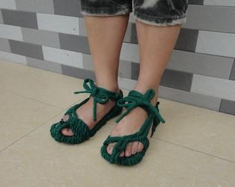 100% Handmade Knitted Causual Cloth Jasper Sandals Sandals Comfortable CSA002