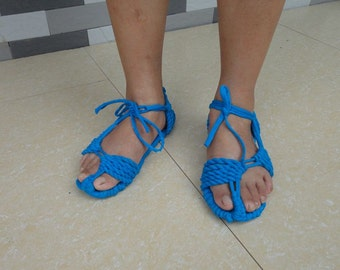 100% Handmade Knitted Causual Cloth Blue Sandals Sandals Comfortable CSA003