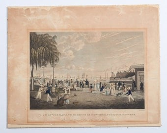 Antique 1830 Lithograph View of the Bay & Harbour of New York from Battery for NY Mirror,after C. Burton
