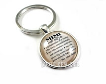 Mimi Keychain Mimi Key Chain - Mimi Charm Dictionary Definition 1 inch Round Glass Key Chain Mothers Day Gift Mom Mimi Nana Grandma Kids