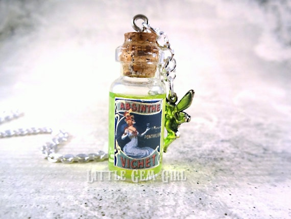 Absinthe Jewelry Antique Absinthe Glass Bottle Necklace - Green Fairy Charm - Potion Vial Absinthe Fairy Necklace Charm - Halloween Jewelry