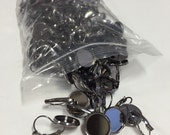 100 14mm gunmetal dark silver leverback earring trays, jewelry destash