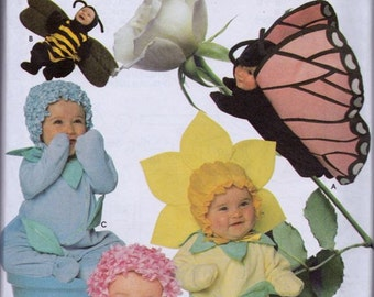 Simplicity 7868 Toddlers' Flower, Bee and Butterfly Costumes Pattern, UNCUT, Size 1/2-1-2-3-4, Halloween, Photo Props,  Flower Pot, Pics