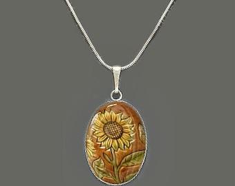 Oval-shaped Sunflower Glass Pendant