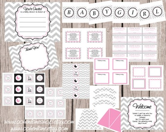 INSTANT DOWNLOAD Printable Basic Pink and Gray Chevron Baby Shower Party Package Digital You Print Party Package. Grey Chevron and Purple