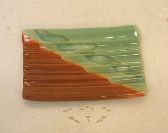 Corregated Bar Soap Holder, Handbuilt Porcelain, Spring Green and Rust Glazes, Bathroom Accessory
