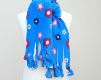 Scarf - Blue Floral Polar Fleece Fringe, Winter Scarf, Warm and Cuddly Scarf