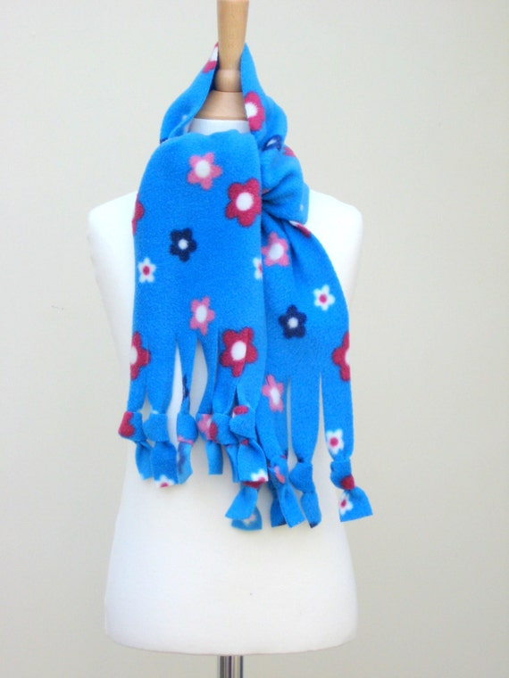 Scarf - Blue Floral Polar Fleece Fringe, Winter Scarf, Warm and Cuddly Scarf