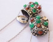 Pocket Hill Tribe Silver  Necklace decorate with stones/Silver plate/Dangle/Tribal necklace