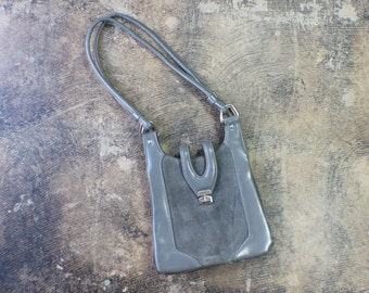 1970's Gray Handbag / Vintage Shoulder Bag / Women's Grey Handbag