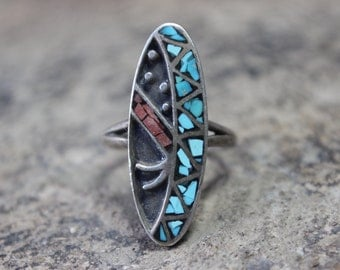 Abstract Southwest RING / Vintage Sterling Silver Inlay Jewelry / Size 7 Ring