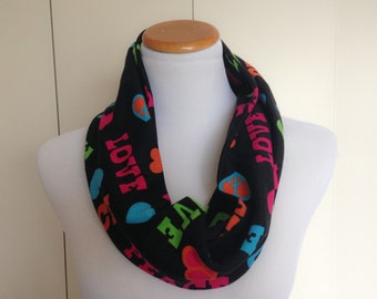 Multi Color Love and Peace Print Stretch Jersey Knit Infinity Scarf