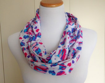 Multi Color Heart Camouflage Print Stretch Knit fabric Infinity Scarf