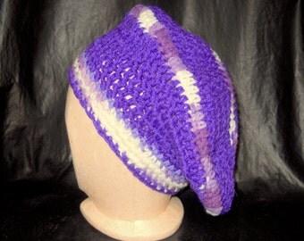 Women's Hat,  Large Crochet Beret, Slouchy Hat, Purple, White, Women' s Winter Knit Hat, Vikings, K State, TCU