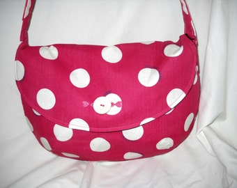 "Pink Polka Dot Hobo Bag,  ""Colorful Candy"" Pattern Fabric, Embroidered Hearts"