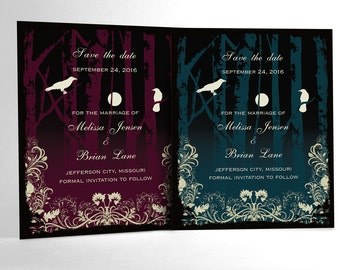 Halloween Wedding Save the Date Cards, Elegant Gothic Wedding, Goth White Crows with Birch Trees and Full Moon. Custom Chosen Color Accent