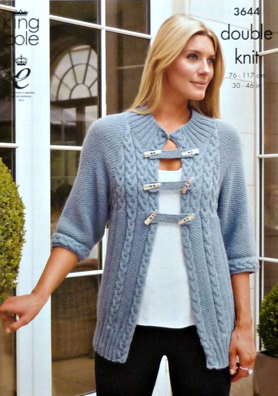 K3644 Ladies Cable and Moss Stitch Cardigan by KnittingPatterns4U