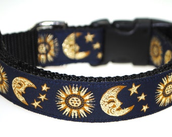"Celestial Sun and Moon Blue and Gold 1"" Adjustable Dog Collar"