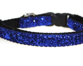 "Metallic Royal Blue Glitter - 3/8"" Adjustable Dog Collar"