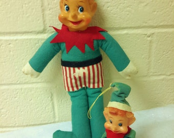 CHRISTMAS PIXIE ELF Pair Knee Hugger and Stand Up Style 1950's Green and Red Outfits