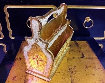 Vintage ITALIAN FLORENTINE Wood  Box Letter Holder Handled Gold Red Whitewash Artful Presentation Library Study Office Home Decor