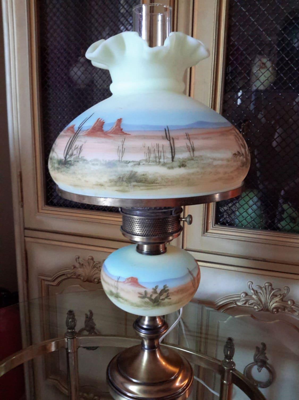 RARE FENTON LAMP Limited Edition Hand Painted Arizona Desert
